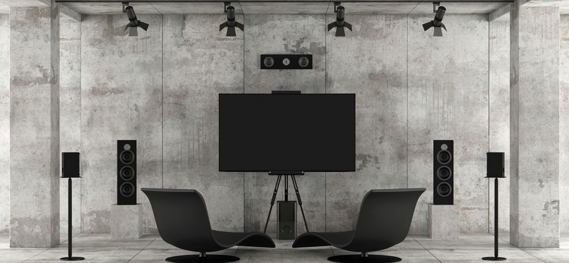 home-cinema-system-in-a-concrete-room-ECWDG4Q